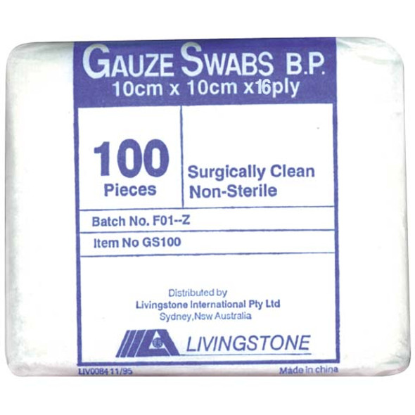 Gauze Swabs, 10 x 10 cm, 16Ply, Non-Sterile, Surgically Clea