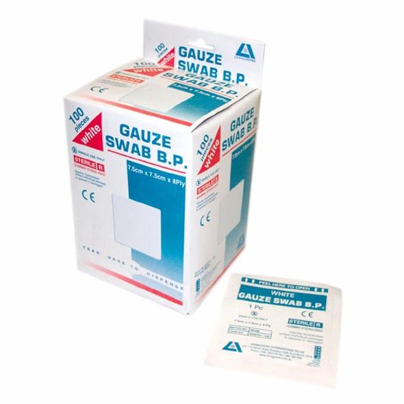 Sterile Gauze Swabs, 7.5 x 7.5 cm x 8 ply, White, 100 Percen