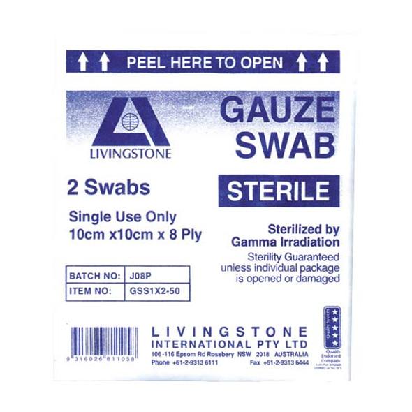 Sterile Gauze Swabs, 10 x 10 cm x 8 ply, White, 100 Percent