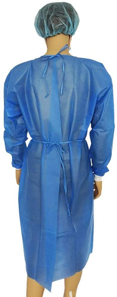 Gown, LEVEL 2 Impervious Isolation Cover Gown Blue, Knit cuff, Dental, Medical, 45 GSM, TGA Registered,  Waterproof, 10 Pcs/bag