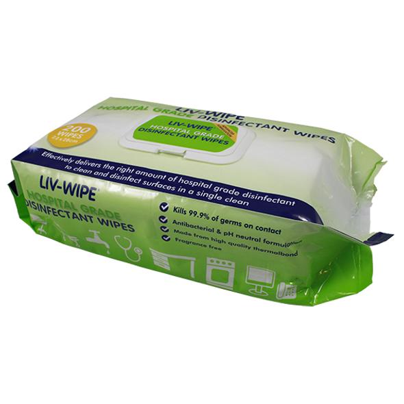 Liv-Wipe Hospital Grade Sanitiser Disinfectant Wipe, 22 x 28