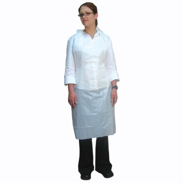 Disposable Apron, 71 x 122cm, Recyclable LDPE, Bib Type, Embossed, Single Pack, White, 100 per Box