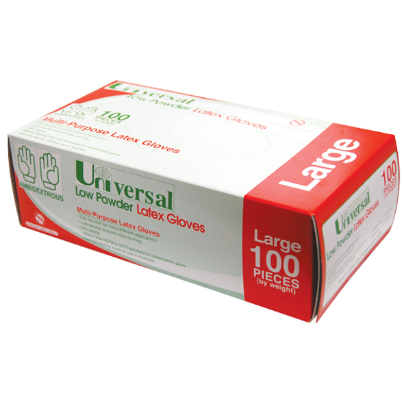 Universal Biodegradable Latex Gloves, ASTM, Low Powder, Large, Cream Colour, 100 per Box, 1,000 per Carton