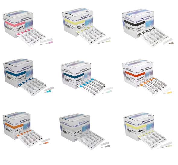 100pcs/box Disposable Hypodermic Needles various gauges 18G to 27G (18G, 19G, 20G, 21G, 22G, 23G, 25G, 26G, 27G) fits all syringes