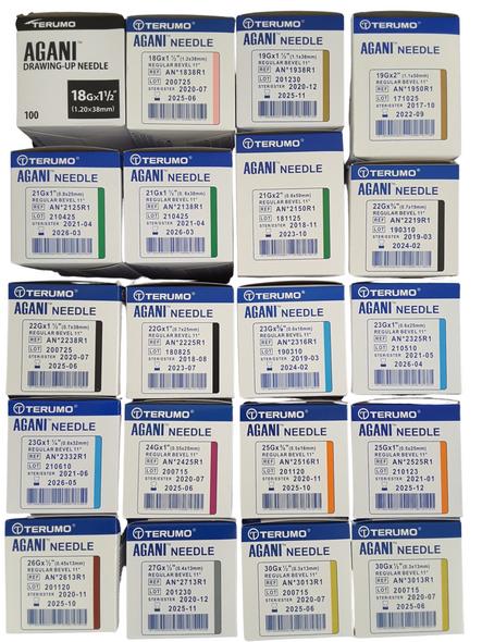 100pcs/box Terumo Disposable Hypodermic Needles Agani various gauges 18G to 30G (18G, 19G, 20G, 21G, 22G, 23G, 24G, 25G, 26G, 27G, 30G) fits all syringes