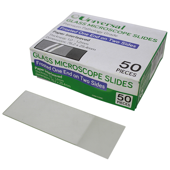Universal Microscope Glass Slide, Frosted One End Two Sides, Thickness: 1.0-1.2mm, Interleaved, 50 per Pack