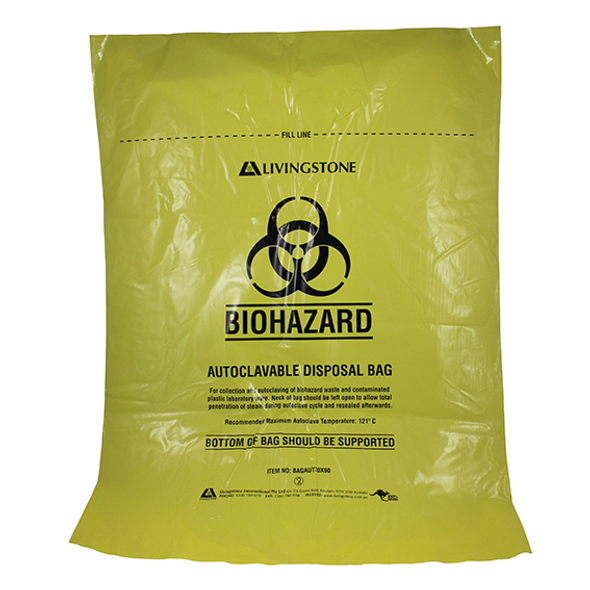 Biohazard Waste Bag, Autoclavable 121degC, Recyclable PP, 70 x 90cm, 50 Microns, Yellow, 5 Packs of 50 Pieces, 250/Carton