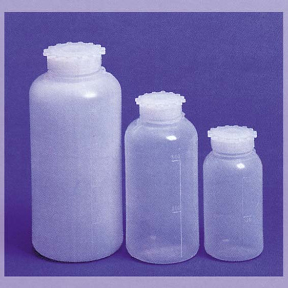 Aptaca Cylindrical Bottle, Recyclable PE, Wide Neck, with Inner Cap, Graduated, 250ml, 61mm Bottle D x 126mm H x 34.5mm Mouth D, Each