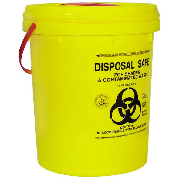 Needles Sharps Waste Collector, 23 Litres, with Screw Lid and Finger Guard, Round, Recyclable Plastic, Yellow, Each