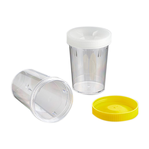 Polystyrene Recyclable Plastic Container 500ml, Sterile, Yellow Screw Cap, Unlabelled, 72 per carton