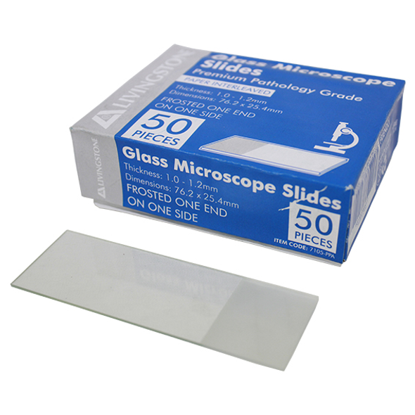 Liv Premium Pathology Grade Microscope Glass Slide,Frosted,One End One Side,Thickness 1.0-1.2mm,76.2 x 25.4mm,Interleaved,50 per Pack