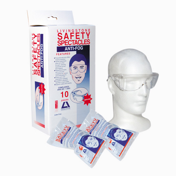 Protective Safety Goggles Spectacles, Anti-Scratch Anti-Fog, ANSI Z87.1-2010 EN166:2001, Recyclable Polycarbonate, 10 per Box