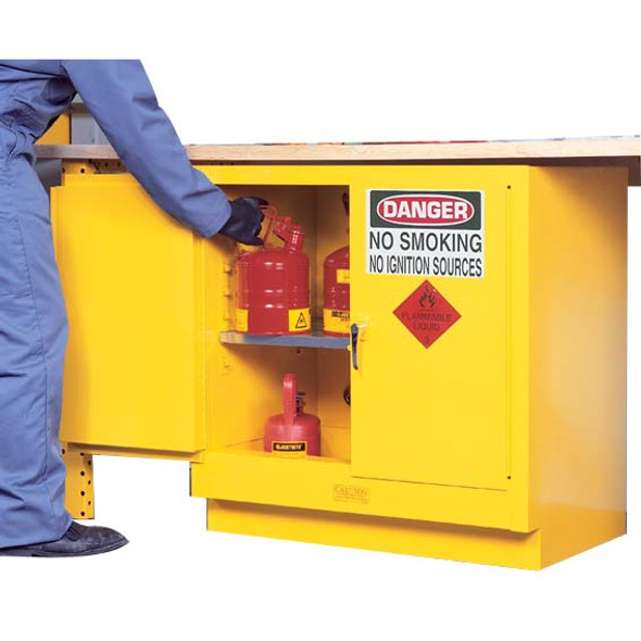 Justrite Safety Storage Cabinets for Flammable Liquids, 100 Litres, 800 x 920 x 565mm, 2 Shelves, 2 Door, Yellow, Each
