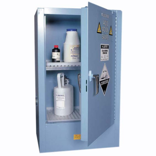 PBA Safety Safety Storage Cabinets for Corrosive Substances, 60 Litres, 1005 x 595 x 465mm, 2 Shelves, 1 Door, Blue, Each
