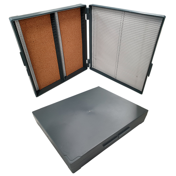 Microslide Recyclable Plastic Case, Holds 100 Slides, 200L x 160W x 35Hmm, Hinged, Grey, ABS Recyclable Plastic, Each