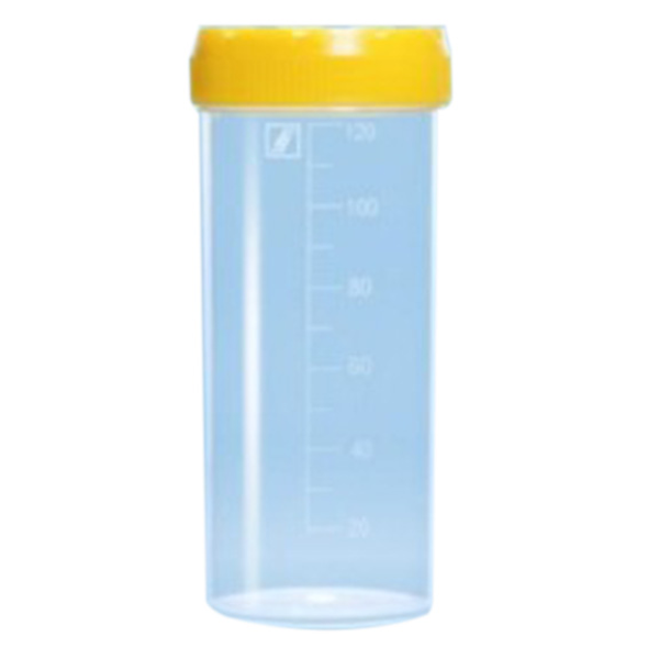Specimen Container, 120ml, Gamma Sterile, with Yellow Cap, Unlabelled, Recyclable Polystyrene, 264 Pieces per Carton