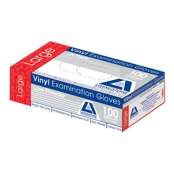 Vinyl Examination Gloves, Recyclable, 6.5g, Low Powder, Large, Clear, 100 per Box, 1,000 per Carton