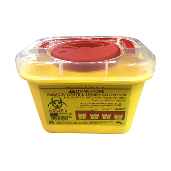 Liv Needles Sharps Waste Collector, 3 Litres, with Screw Lid and Finger Guard, Clear View Top, Square, Recyclable Plastic, Yellow, Each