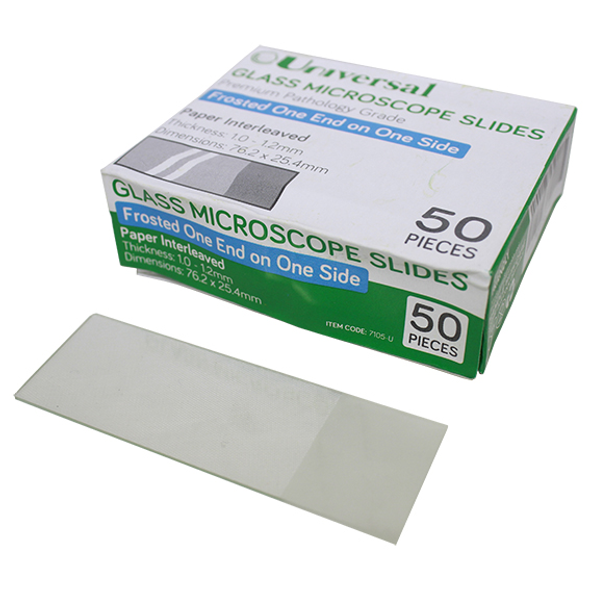 Universal Microscope Glass Slide, Frosted, One End One Side, Thickness 1.0-1.2mm, 76.2 x 25.4mm, Interleaved, 50 per Pack