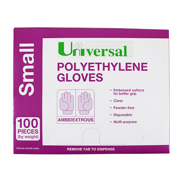 Universal Disposable Polyethylene Gloves, Small, Recyclable,