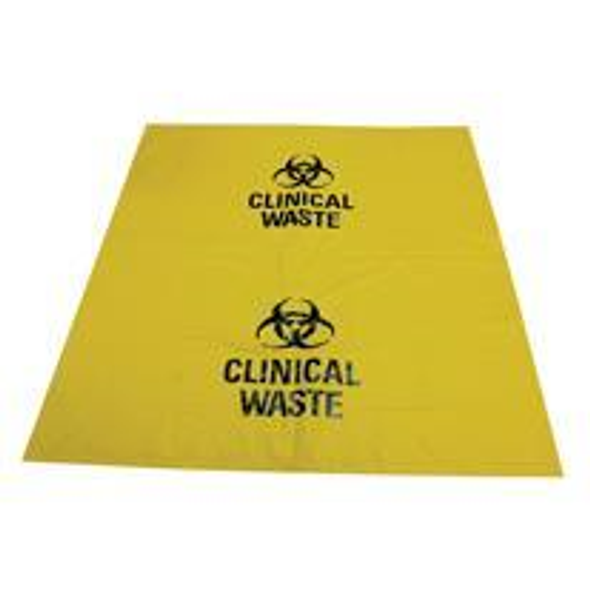 Biohazard Waste Bag, 60 x 50cm, 27 Litres, 30 Microns, Recyclable LDPE, Yellow, 50 Pieces per Pack