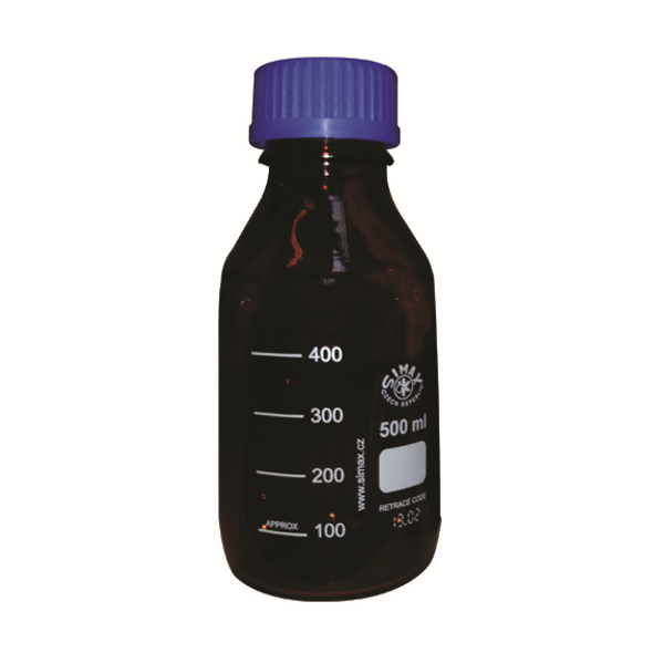 Simax Lab Reagent Bottle, 500ml, 86mm Diameter x 181mm H, GL45, Amber, Blue PP Cap and Outlet Ring, Borosilicate Glass, European, Each