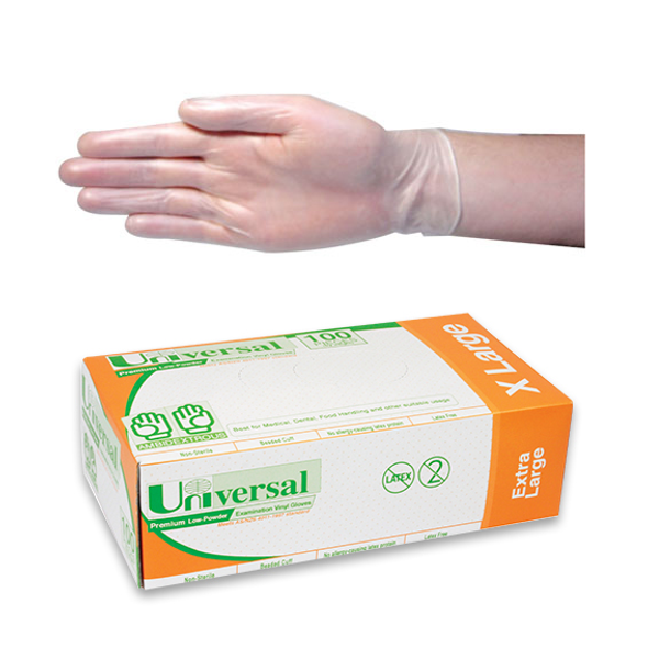 Universal Vinyl Examination Gloves, Recyclable, 7.0g, Low Powder, Extra Large, Clear, 100 per Box