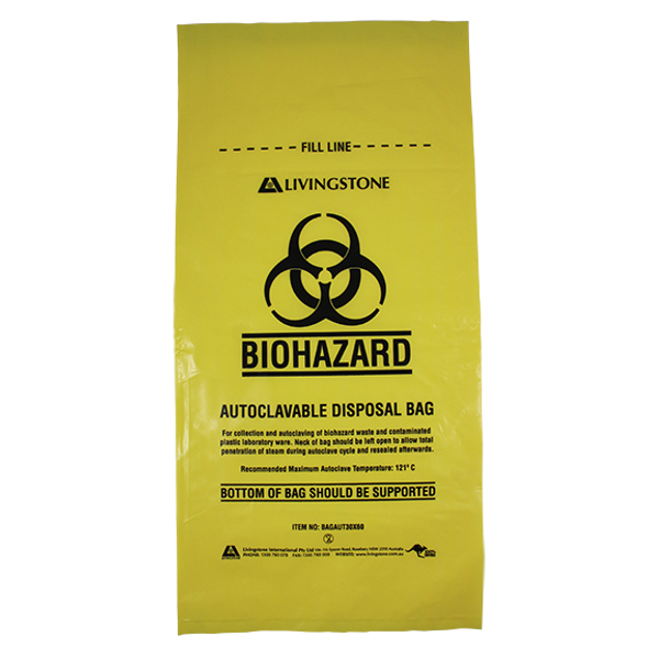 Biohazard Waste Bag, 30x60cm, 50 Microns, 12 Litres, Recyclable LDPE, Yellow, 50 per Pack, 500 per Carton