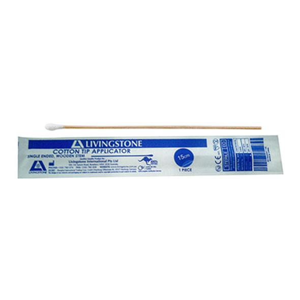 Cotton Tip Applicator, Single Tipped, Biodegradable Wooden Stem, 15cm, Sterile, 1 per Pack, 100 Packs per Bag