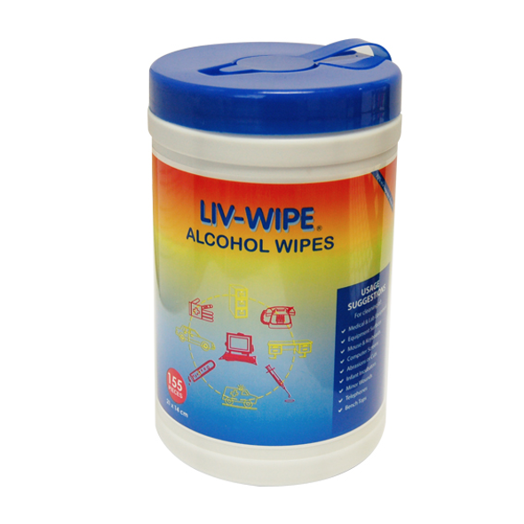 Liv-Wipe Antibacterial Alcohol Wipes, 70 Percent Isopropyl Alcohol Sanitiser, 21 x 14 cm, 155 per Recyclable Tub