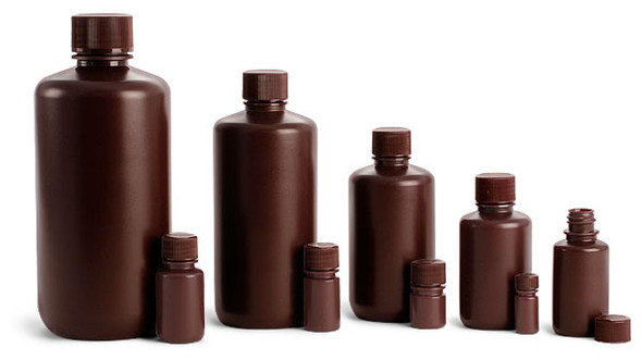 125ml, Storage Bottles, Narrow Mouth, Amber Polyethylene, Cylindrical, Graduated with Screw Cap & Inner Stopper