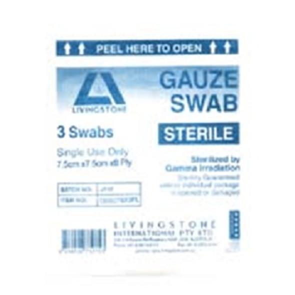 Livingstone Sterile Gauze Swabs, 7.5 x 7.5 cm x 8 ply, White