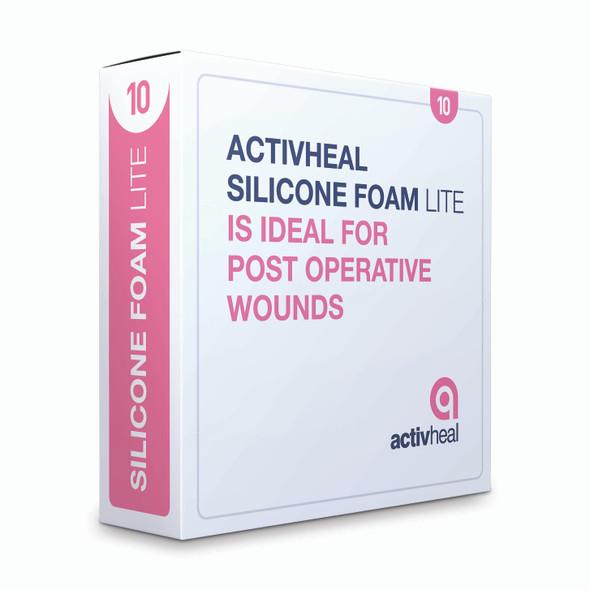 Activheal Silicon Adhesive  Foam Lite 10 X 10cm No Border - 10pcs/Box
