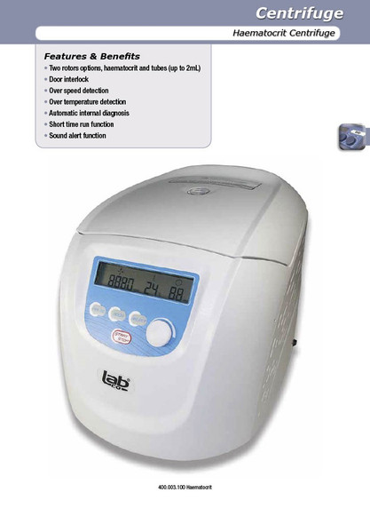 Centrifuge Hematocrit , Including Rotor ,14,000 RCF,  two rotors options, haematocrit and tubes (up to 2mL)
