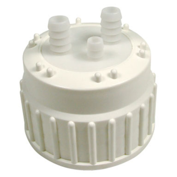 Cap for Aspirator Bottles - PP - TPE Gasket and Ports - For Silicone Tubing 13mm ID, Each