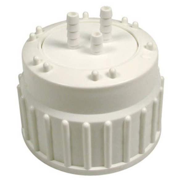 Cap for Aspirator Bottles - PP - TPE Gasket and Ports - For Silicone Tubing 6mm ID, Each