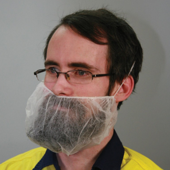 Beard Cover, Disposable, White, One Loop (behind head), 12GSM,PK100
