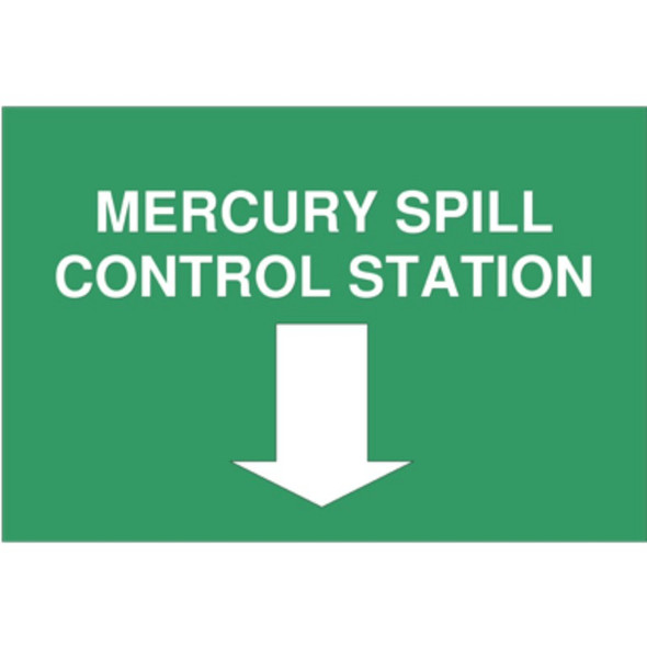 """Sign For Spill Kit """"Mercury Spill Control Station"""" A3, Each"""