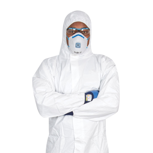 SMS COVERALL TYPE 5/6  Disposable Coverall, White Overalls, Size Large , one pc