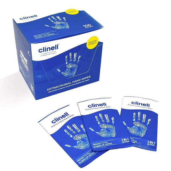 Clinell Antibacterial Hand Wipes 100 pcs - Blue Individually Packed