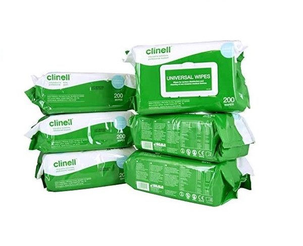 6 packs - Clinell Universal Sanitising Wipes, 25cm x 25cm Green (Pack of 200)