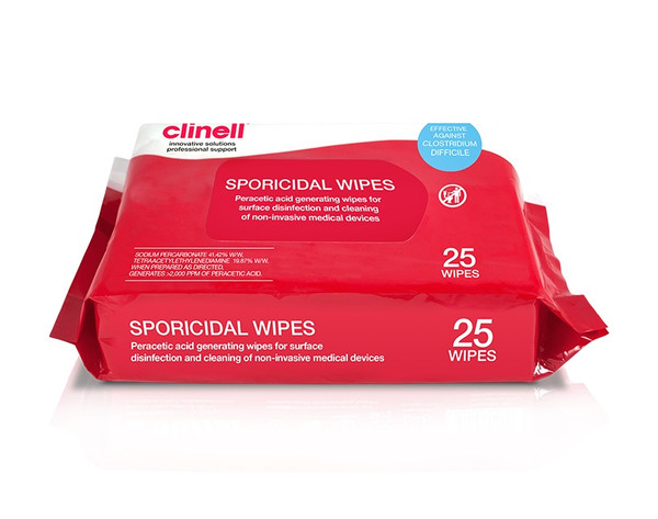 Clinell Sporicidal Wipes, 25 wipes/pkt