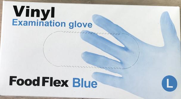 Vinyl Examination Gloves Blue, Large, Powder Free Non-Sterile, 100pcs/box, 10 BOX/CARTON
