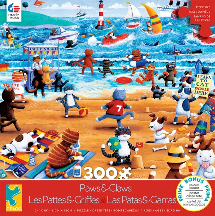 PAWS & CLAWS: CAT BEACH 300 PIECE PUZZLE