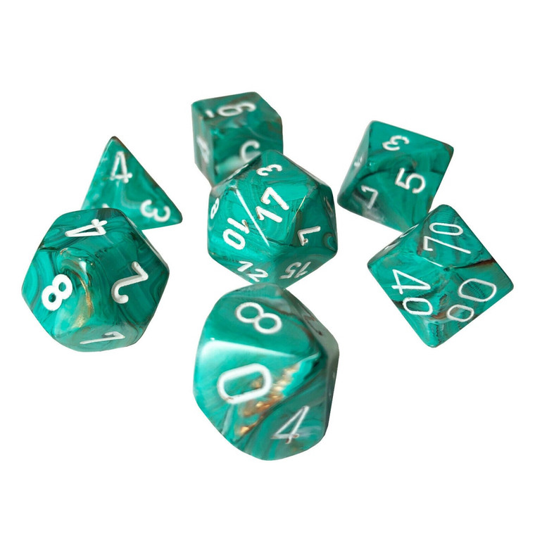 7CT MARBLE OXI-COPPER WITH WHITE POLYHEDRAL DICE SET