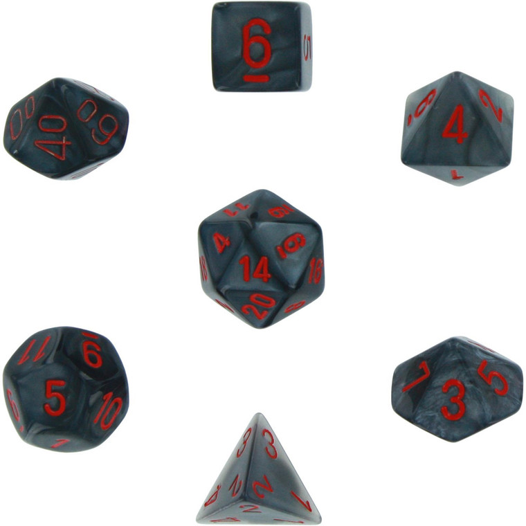 7CT VELVET BLACK WITH RED POLYHEDRAL DICE SET