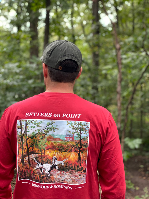 English Setters on Point Virginia Brick Red Pocket Tee Long Sleeve