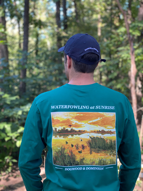 waterfowling at sunrise, duck hunting, duck hunting tee, ivy green tee,