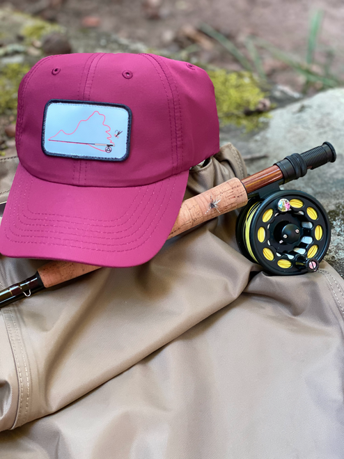 Virginia Fly Fishing, Virginia on the Fly Maroon Performance Hat, Performance Hat, Fly Rod Hat, Virginia Hat, Maroon Performance hat