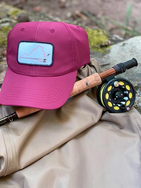 Virginia Fly Fishing, Virginia on the Fly Maroon Performance Hat, Performance Hat, Fly Rod Hat, Virginia Hat, Maroon Performance hat
